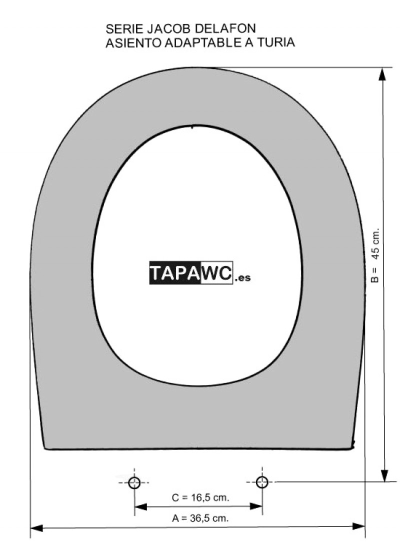 Asiento inodoro TURIA tapawc compatible Jacob Delafon