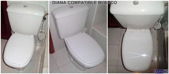 Asiento Inodoro Muy Resistente 42 x 34 x 4,5 cm Tapa WC Compatible DIANA GALA Bisagra Ajustable Blanco F/ácil Instalaci/ón y Limpieza