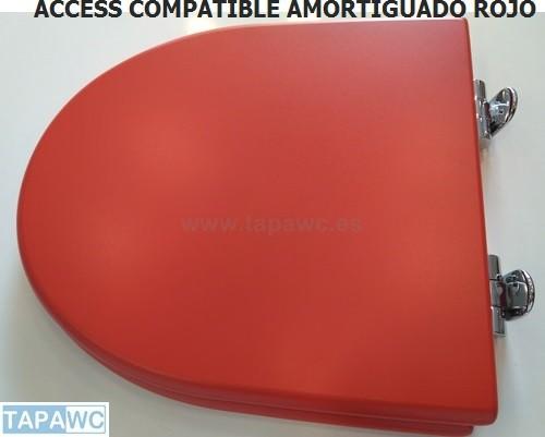 Asiento inodoro ACCESS ARO CERRADO tapawc compatible Roca AMORTIGUADO color ROJO oferta unica unidad