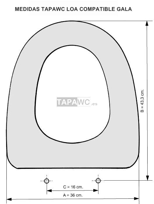 Asiento inodoro LOA AMORTIGUADO tapawc compatible Gala