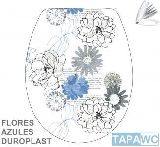 Asiento FLORES AZULES amortiguado tapawc decora