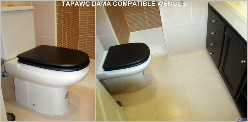 Asiento inodoro dama retro tapawc compatible roca adaptable for Sanitarios negros