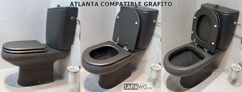Tapa inodoro compatible metalizado GRAFITO tapawc