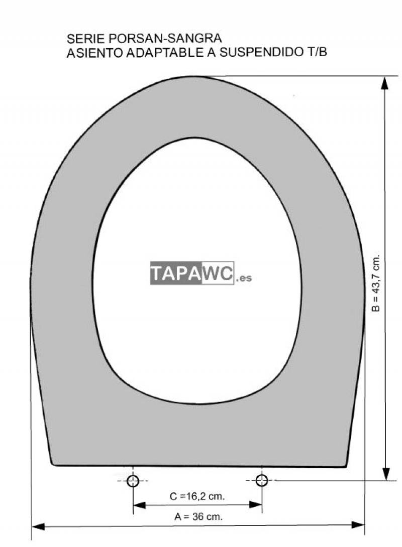 Asiento inodoro SUSPENDIDO T/B tapawc compatible Sangra