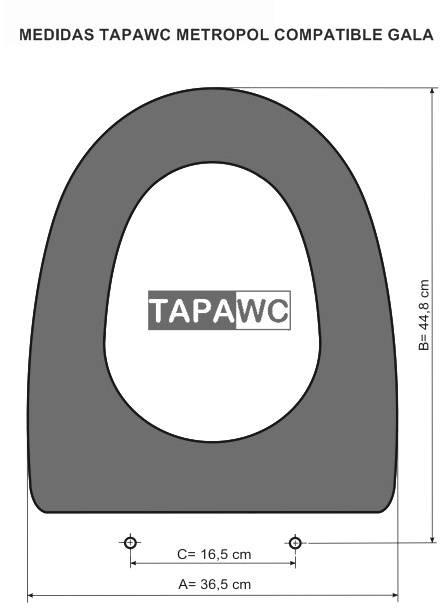 Asiento inodoro METROPOL tapawc compatible Gala