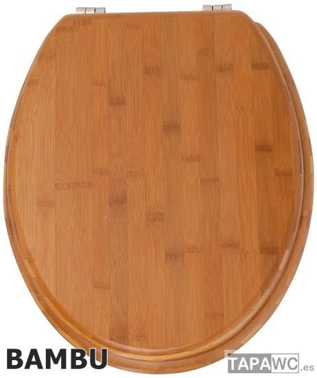 Asiento bambu tapawc madera standard for Tapa inodoro madera