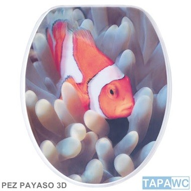 Asiento inodoro PEZ PAYASO 3D tapawc decora