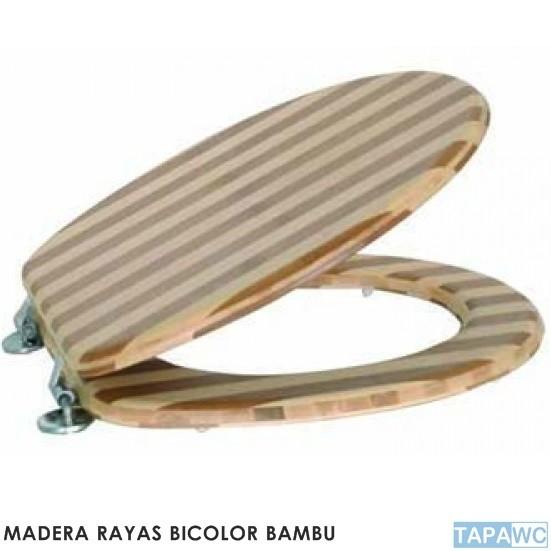 Tapa inodoro standard rayas bambu tapawc madera for Tapa inodoro madera